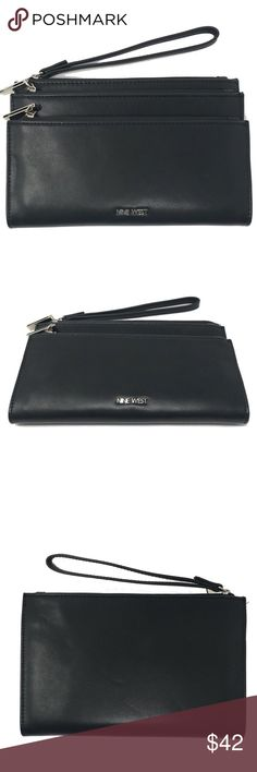 "Nine West Triple Zip Wristlet Pouch Nine West Triple Zip Wristlet Pouch Table Treasure Black SLG   Item number: 273043153305  100% Authentic Nine West   Buy with confidence!  Features:  • New with tags  • Black color  • MSRP: $49.00  • Triple zip on top of 3 main compartments, room for cell phone and other stuff  • 5.5"" H x 8.5"" L x 1"" D  • Imported  Please feel free to ask any questions. Happy shopping! Nine West Bags Clutches & Wristlets"