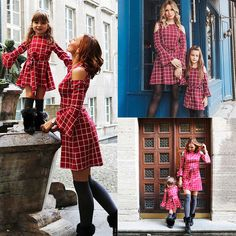 New Family Dress Mother and Daughter Matching Red Plaid Dresses Mom Kids Girls Ladies Outfits Clothes Dresses S-XL 3-8Year 1