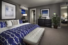 Grey, white and royal blue master suite. Smokey blue instead of royal would be great.
