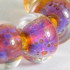 GMD Lampwork Beads LOVE POTION 6 encased donuts 12-13mm artisan usa SRA