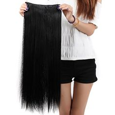 """S-noilite® Salon 26"""" Straight Dark Black One Piece 5 Clips Clip In Hair Extensions Fashion Design For American Lady Women 5A Synthetic Long Harmless Hairstylevids - Videos, Tutorials, Discounts #hair #hairstyle #hairdo #hairproduct"""