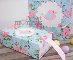 Μπομπονιέρα βάπτισης κουτί συρταρωτό floral με πουλάκι