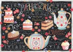 Ceaco Let's Chalk - Tea and Cakes Puzzle: 550 piece Let's Chalk. This puzzle when assembled measures and features a high gloss image on package for reference. It is of quality construction and designed to be beautiful and visually appealing. Color By Numbers, Paint By Number, Puzzle Shop, Coffee And Donuts, Cross Paintings, Chalkboard Art, 1000 Piece Jigsaw Puzzles, Crystal Rhinestone, Sewing Crafts