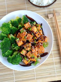 """General Tso's Tofu (recipe) - """"Every once in a while I get a huge craving for General Tso's chicken but want a slightly lighter option. So I got inspired to do a vegetarian General Tso's using tofu. One of the benefits of using tofu is that it's quicker and a bit easier than preparing the chicken."""""""