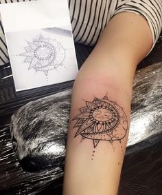sun and moon mandala tattoo