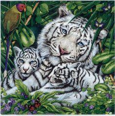 4 servilletas de decoupage Familia de Snow Leopard