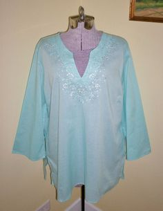 "Women's Size XL Lightweight 100% Cotton Top Shirt Blouse Tunic 48"" Bust Sequins  #Unbranded #Tunic #CasualCareerDressy"