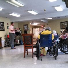Bible Study conducted in nursing home. We start this in September in Eastgate!!!!!!