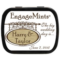 Street Sign Personalized Engagement Mint Tins | Recent Engagement Party Favor | #savethedate Engagement Party Favors, Wedding Favors, Mint Tins, Street Signs, Personalized Signs, Day, Wedding Keepsakes, Personalised Signs, Favors
