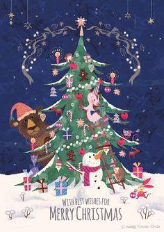 Yukako Ohde's illustration Gallery Christmas Arts And Crafts, Noel Christmas, Christmas Design, Christmas Greetings, All Things Christmas, Vintage Christmas, Christmas Decorations, Xmas, Illustration Inspiration