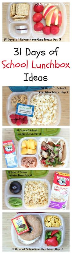 No more boring lunches! Forget plain ol' peanut butter & jelly sandwiches. Get your creative juices flowing with our 31 Days of School Lunchbox Ideas from 5DollarDinners.com Kids Lunch For School, Lunch To Go, Lunch Time, School Snacks, Healthy Lunches For School, Cold Lunch Ideas For Kids, Creative School Lunches, Lunch Snacks, Healthy Snacks