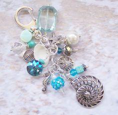NAUTILUS PURSE CHARM, Seahorse, Starfish, Sand Dollar, Aqua Beads, Faceted Crystals, Beachy Colors