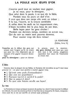 LA POULE AUX ŒUFS D'OR (La Fontaine)
