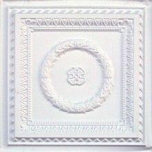 210 White Matte Faux Tin Ceiling Tile 24 X Laurel Wreath