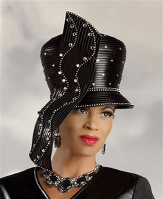 dcce0146f2226 Donna Vinci Hat 2049  DVH2049  Waterfall Ribbon Dome Crown Black Hat. Faux  leather fabric