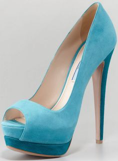 Prada Suede Two-Tone Pump, Turquoise  http://gtl.clothing/a_search.php#/post/Prada/true @gtl_clothing #getthelook