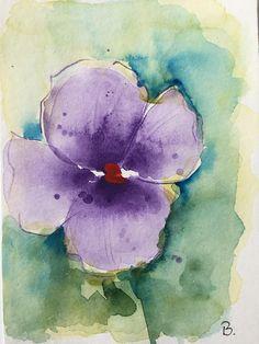 ORIGINAL AQUARELL Aquarellpostkarte StiefmütterchenBild Kunst Art Watercolor Flowers Pansy Handmade postcard