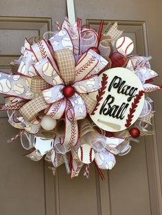 Summer Wreaths Excited to share this item from my shop: Baseball themed wreath, Baseball Wreat Christmas Wreath Image, Christmas Mesh Wreaths, Door Wreaths, Yarn Wreaths, Floral Wreaths, Burlap Wreaths, Baseball Wreaths, Sports Wreaths, Diy Wreath