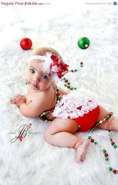 Christmas Set- Chiffon Ruffle Bum Baby Bloomers and Snowflake headband- Newborn Toddlers Photo Prop - Holiday Chirstmas pict. $18.95, via Etsy.