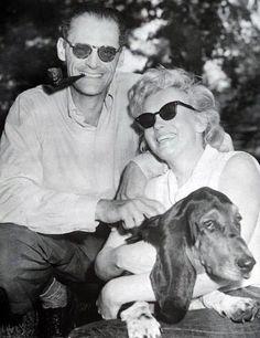 Marilyn Monroe and Arthur Miller with their basset hound Hugo.