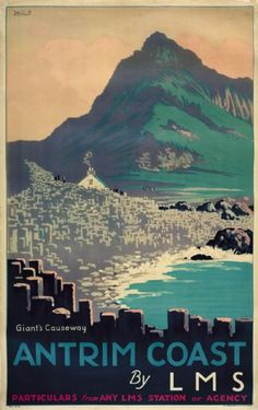 This railway travel poster was originally used by London, Midland and Scottish Railway to promote tourism.  The poster  shows an image of the Giants Causeway which is in County Antrim in Northern Ireland.  The poster shows the strange rock structure that is ther and a small cottage which in those days was an interperative center for tourists, (it is no longer there).