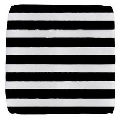 Grungy Black and White Stripes Cube Ottoman