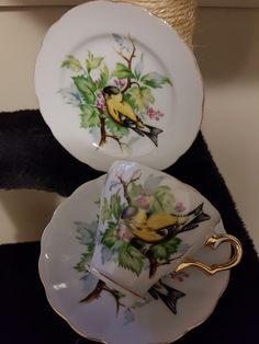 SAJI ~ Yellow Bird Tea Cups, Decorative Plates, China, Bird, Yellow, Tableware, Collection, Home Decor, Homemade Home Decor