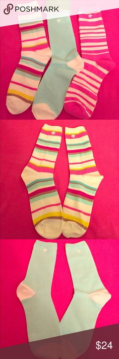 🆕 ONLY 1! Kate Spade Crew Socks, 3PK Authentic Kate Spade Crew Socks, 3PK. 1- White with Blue (2 Shades), Pink, Raspberry Red, Yellow, & Khaki Stripes. 2- Blue with White Heels & Toes. 3- Pink & White Stripes. All have Signature White Kate Spade Logo at the Top on All Sides. 68% Cotton/30% Polyester/2% Spandex. Brand New. Excellent Condition. No Trades. kate spade Accessories Hosiery & Socks