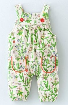 Mini Boden Print Cotton Jersey Overalls (Baby Girls & Toddler Girls)