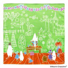 ムーミン ハンカチ トリビュートワークス ママの壁紙/グリーン
