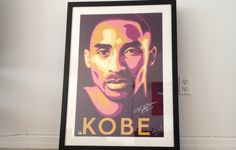 Kobe Bryant by Shepard Fairey. Signed by both Kobe and Fairey with certificate of authenticity. This is a limited proof (3/5). Great piece for any Kobe fan or a collector of Fairey's work.