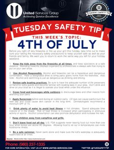 Fourth of July Safety Tips! Safety Talk, Safety Meeting, Fire Safety, Workplace Safety Topics, Safety Toolbox Talks, Osha Safety Training, Safety Precautions, Safety First, Health And Safety