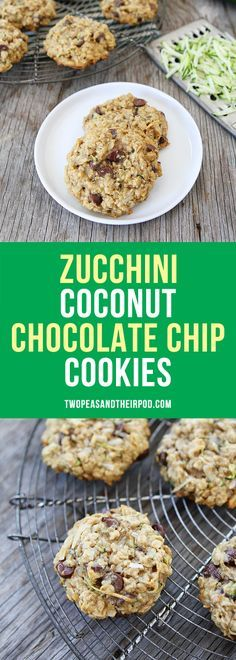 Zucchini Coconut Oatmeal Chocolate Chip Cookies made with coconut oil. These healthy cookies are a family favorite. A great way to use up the summer zucchini too!