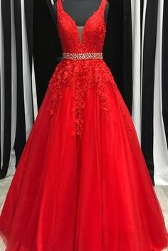 red prom dress Deep V Neck Sleeves Long Prom Dress Angrila Red Lace Prom Dress, Pretty Prom Dresses, Grad Dresses, Event Dresses, Pageant Dresses, Lovely Dresses, Homecoming Dresses, Red Sweet 16 Dresses, Long Prom Dresses Red