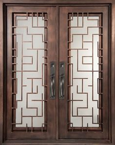 64x98 Sunrise Iron Double Door. Beautiful wrought iron front entry door with grille from Door Clearance Center.