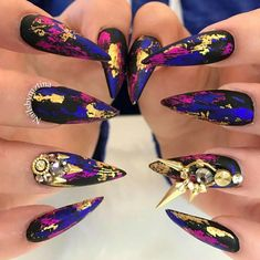 "1,860 Likes, 16 Comments - Clawgasmic (@clawgasmic) on Instagram: ""@nailsbymztina these are so cool, loving foils and matte combo and we love the charms by…"""