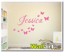 PERSONALISED BUTTERFLY NURSERY WALL STICKERS DECALS CHILDRENS ROOM | 094