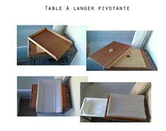 Table à langer pivotante, afin de faciliter le déplacement vers la baignoire intégrée.