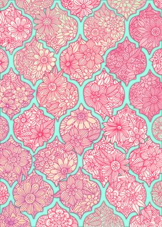 Moroccan Floral Lattice Arrangement in Pinks Art Print by Micklyn