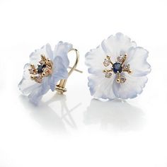 Russell Trusso 18k Carved Chalcedony Flower Earrings, Sapphire, 0.26ctw, White round brilliant cut diamonds, 0.40ctw.: