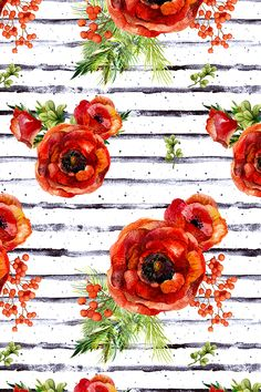 a5dcd68e74 Colorful fabrics digitally printed by Spoonflower - Deer In Love Christmas  Florals with Stripes 6