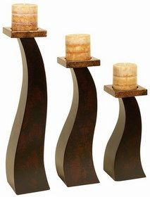 Woodland 99026 Three Tall Wood Pillar Candle Holders 19 To 11 Height   #Woodland