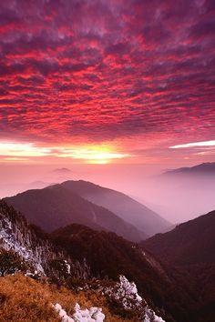 Misty Sunset at Mt. Hehuan in Taiwan