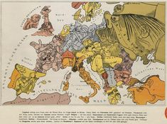 Cartoon Map of Europe in 1914 | The Public Domain Review - unbedingt auch die Legende studieren.