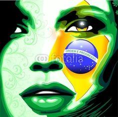 ☆SOLD on #Fotolia!☆     #Brazil #Flag on #Beautiful #Girl's #Face - #Vector #Portrait #illustration © bluedarkat    http://it.fotolia.com/id/42042188