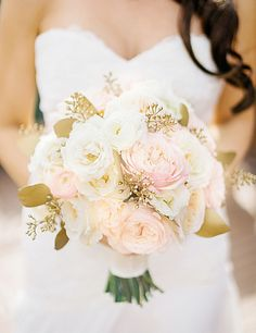 Pretty pink & white bouquet with gilded details: http://www.stylemepretty.com/illinois-weddings/chicago/2015/08/17/romantic-chicago-loft-wedding/ | Photography: Sean Cook - http://seancookweddings.com/
