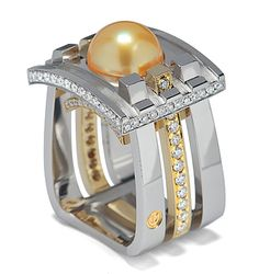 This one-of-a-kind piece showcases a rare and beautiful 11.4mm golden South Sea cultured pearl. The ring, designed by David M. Trout, won First Place in the Men's Wear Division of the 2004 Spectrum Awards. The 18k yellow gold and platinum ring has a strong Asian influence that is seen in the pagoda-like styling and intricate bead setting that accent the multiple layers. The ring has 1.50 carats of D-F color, VS clarity, well-cut diamonds.