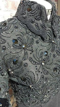 Sophisticated patterns, gimp, beads and sequins in beautiful embroidery haute couture - Fair Masters - handmade, handmade Tambour Beading, Tambour Embroidery, Couture Embroidery, Embroidery Fashion, Ribbon Embroidery, Embroidery Stitches, Western Show Clothes, Horse Show Clothes, Hand Embroidery Designs