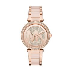 Michael Kors Women's Parker Blush Acetate and Rose Gold-Tone Stainless Steel Bracelet Watch - Women's Watches - Jewelry & Watches - Macy's Michael Kors Schmuck, Bijoux Michael Kors, Michael Kors Rose Gold, Handbags Michael Kors, Michael Kors Watch, Stainless Steel Jewelry, Stainless Steel Watch, Rose Watch, Jewelry Watches