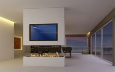 Contemporary floating fire in white block wall in the middle of a living room